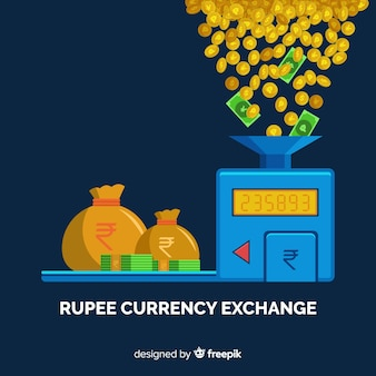 Troca de moeda da rupia indiana