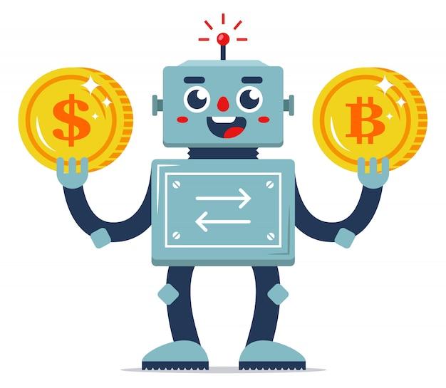 Troca de moeda virtual por dinheiro real. automação de serviços da internet. trocador de robôs. ilustração em vetor personagem plana. moedas de ouro.