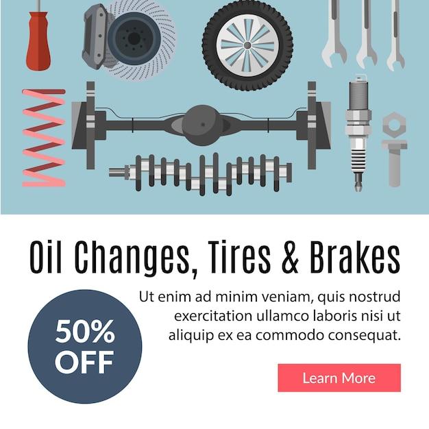 Troca de óleo pneus e freios por cento fora do vetor