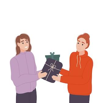 Troca de presentes pessoas trocam caixas de presente