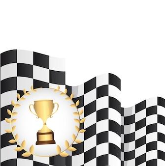 Troféu com bandeira quadriculada