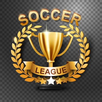Troféu da liga de futebol com coroa de louros de ouro