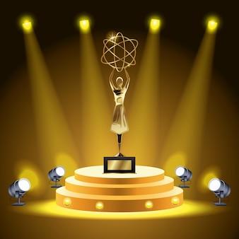 Troféu de átomo de levantamento de mulher de prêmio