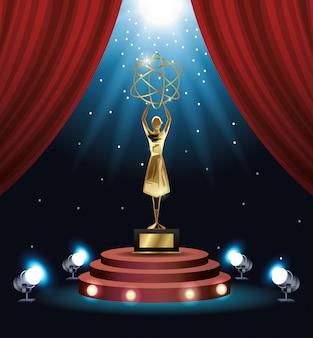 Troféu de átomo de levantamento de mulher de prêmio Vetor Premium