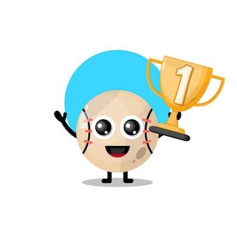 Troféu de beisebol mascote de personagem fofa