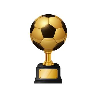 Troféu de bola de futebol de ouro realista