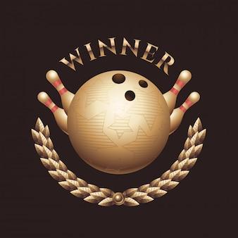Troféu de campeonato de boliche, logotipo, carimbo, crachá