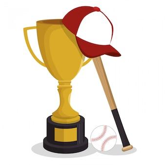 Troféu de ilustração de esporte de clube de beisebol