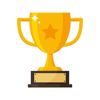 Troféu de ouro com a placa de identificação do vencedor da competição.