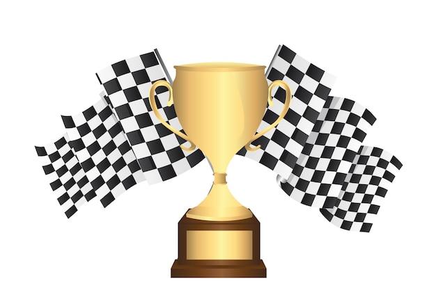 Troféu de ouro com bandeiras quadriculadas isolado