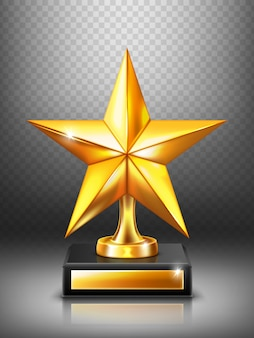 Troféu de ouro com estrela, prêmio vencedor moderno