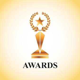 Troféu de ouro do conceito de prêmios de atores