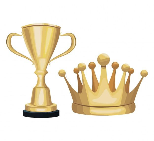 Troféu de ouro e celebração de ornamento de decoração de coroa
