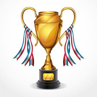Troféu de ouro e fita. ilustração vetorial