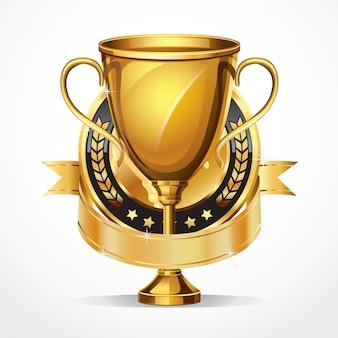 Troféu de ouro e medalha.