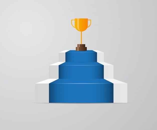 Troféu de ouro na escada do sucesso