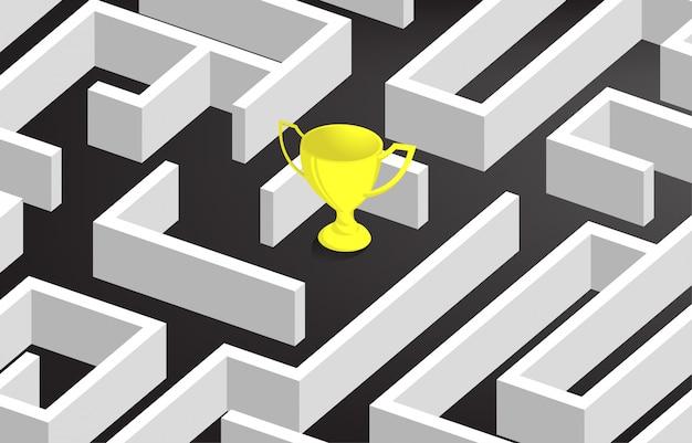 Troféu de ouro no centro do labirinto.