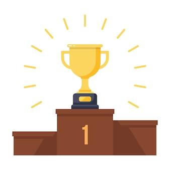 Troféu de ouro no pódio dos vencedores