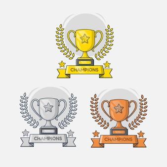Troféu de ouro, prata, desenho de ilustração de bronze