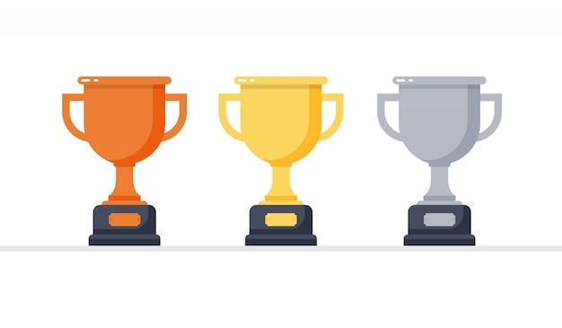 Troféu de ouro, prata e bronze