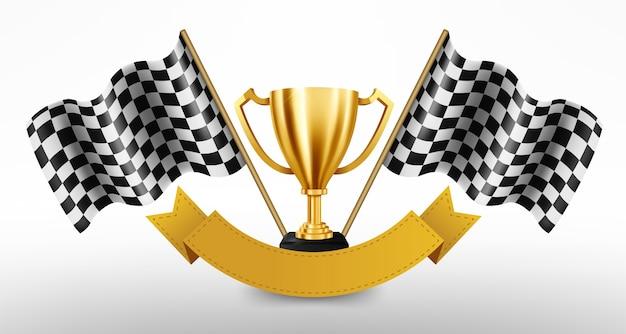 Troféu de ouro realista com bandeira quadriculada