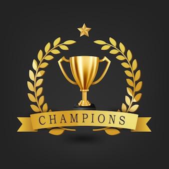 Troféu de ouro realista com coroa de louros de ouro