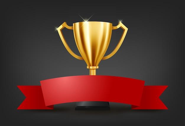 Troféu de ouro realista com espaço de texto na fita vermelha