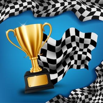 Troféu de ouro realista com fundo de campeonato de corridas de bandeira quadriculada