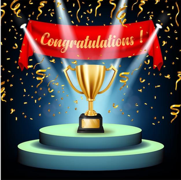 Troféu de ouro realista com texto de parabéns no palco