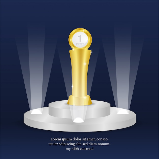 Troféu de ouro realista para campeão no pódio