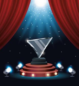 Troféu de triângulo de vidro de prêmio de filmes