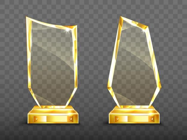 Troféu de vidro de prêmio de ouro com bordas brilhantes