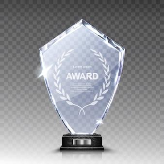 Troféu de vidro ou prêmio vencedor de acrílico realista