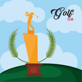 Troféu dourado do clube de golfe