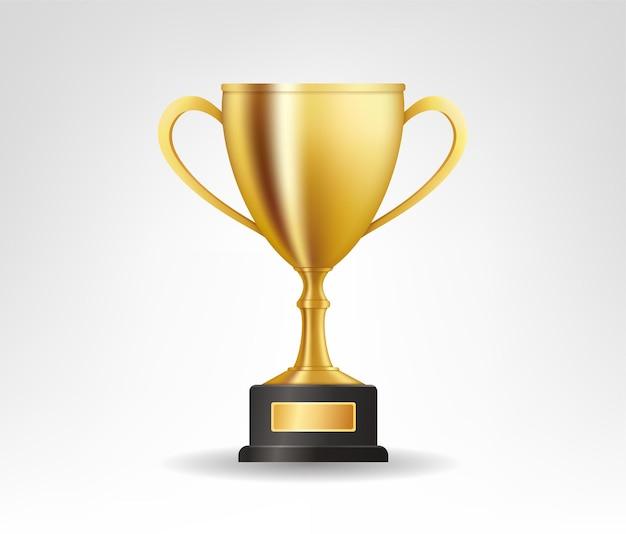 Troféu dourado realista com espaço de texto