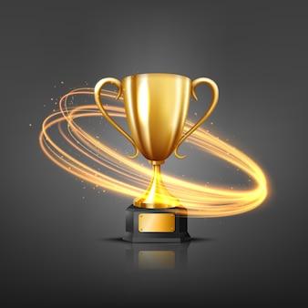 Troféu dourado realista com proteção de fluxo de luz dourada, ilustração