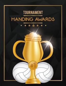 Troféu e balão de esporte de voleibol