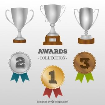Troféu e colecção de medalhas