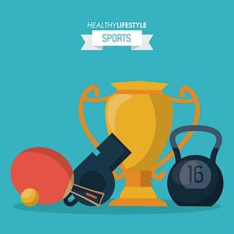 Troféu e kettlebell e assobios e raquete de ping pong