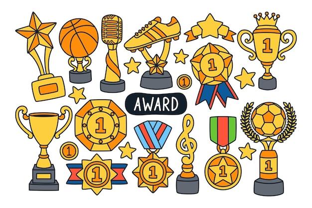 Troféu e prêmio ilustração doodle fundo isolado