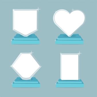 Troféu e prêmios conjunto de ícones. símbolos de ilustração plana com espaço vazio.