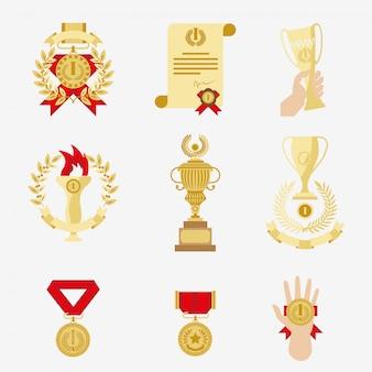 Troféu e prêmios conjunto de ícones.