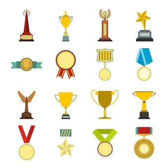 Troféu e prêmios elementos planos definidos para web e dispositivos móveis