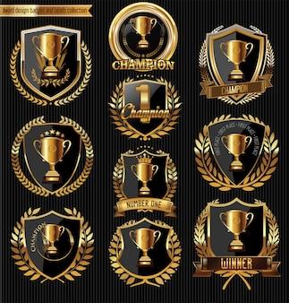 Troféu e prêmios emblemas de ouro