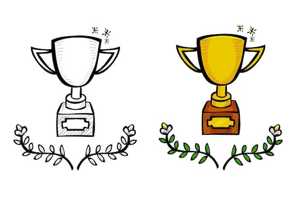 Troféu, esboço de desenho de mão de doodle de vetor simples