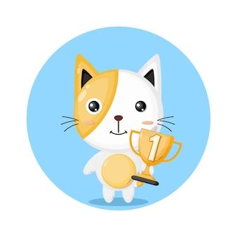 Troféu gato personagem fofa