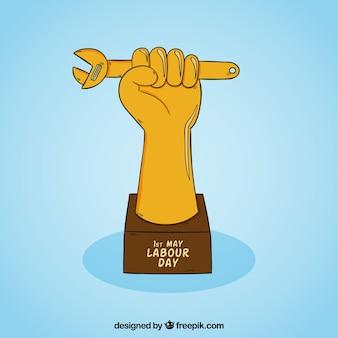 Troféu, mão, chave, fundo