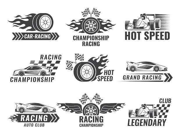 Troféu, motor, rally e outros símbolos para rótulos de esporte de corrida