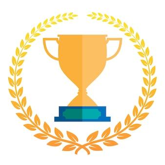 Troféu vector icon ilustração com coroa de louros.