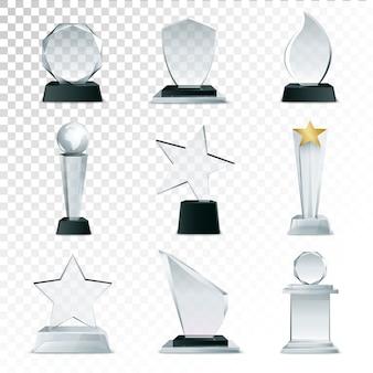 Troféus de copa de vidro moderno e coleção de ícones realistas de vista lateral de prêmios de desafio